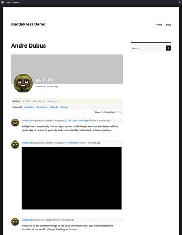 A BuddyPress user profile