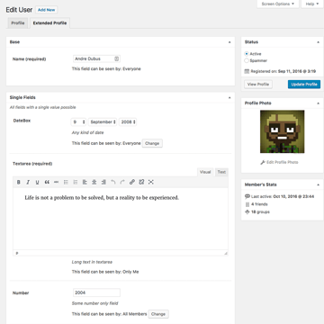 Extended profile options in BuddyPress