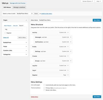 Setting up BuddyPress custom navigation