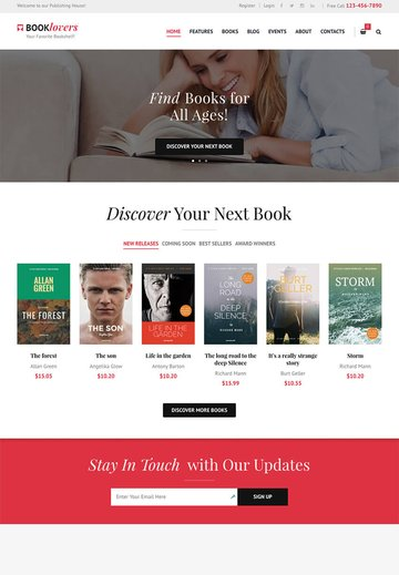 Booklovers Stylish eBook Author WP Theme