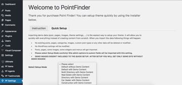 Importing demo content in Point Finder