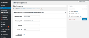 adding a new experience to your resume WordPress website theme