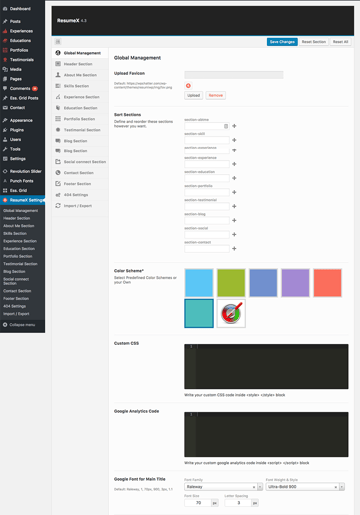 global settings from ResumeX WordPress theme