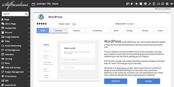 Softaculous wordpress installer