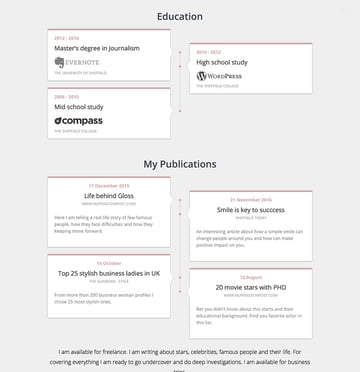 Resume vcard theme