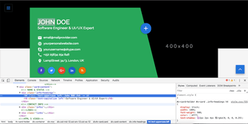 Browser code inspector view of the HTML templates code