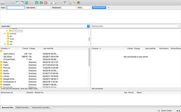Inserting information into FileZilla