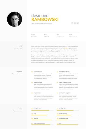 Desmond - One Page ResumeCV Website Template
