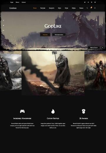 GodLike - Dark One Page Gaming Website Template
