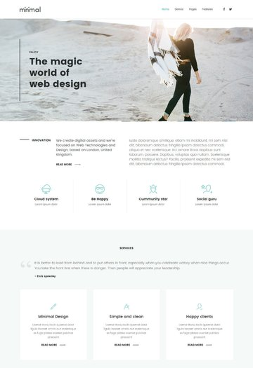 Minimal - Clean and Minimalistic One Page Template