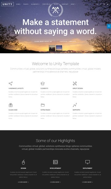 Unity - Flexible All In Single Page HTML Website Template
