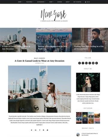 New York modern WordPress theme for personal blogs