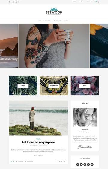 Setwood personal blog WordPress theme