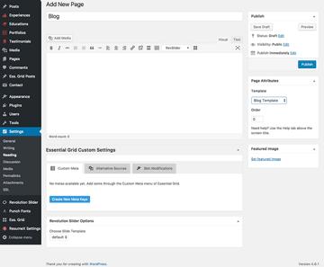 Adding a blog page to WordPress