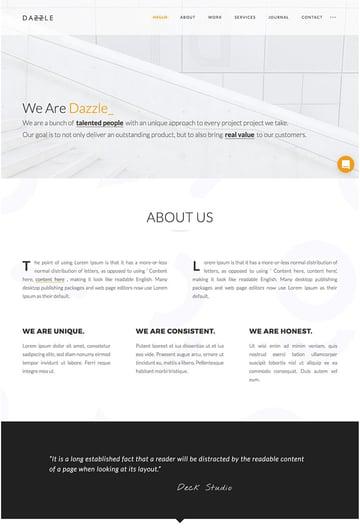Dazzle One-Page WordPress Website Theme Design