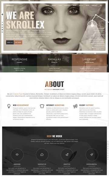 Skrollex modern one-page WordPress website theme