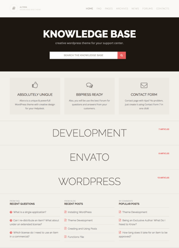 Altera knowledge-based WordPress theme