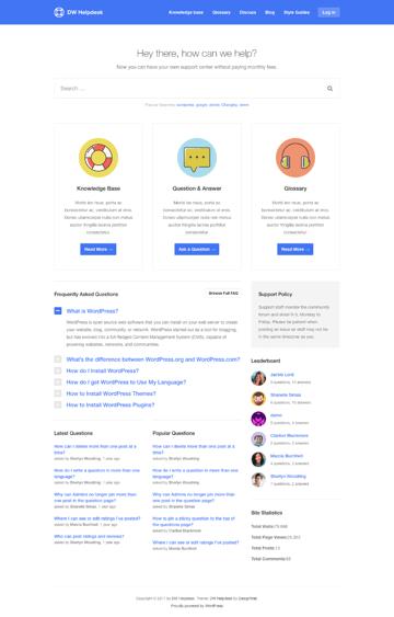 DWHelpdesk Knowledge-Base WordPress Theme
