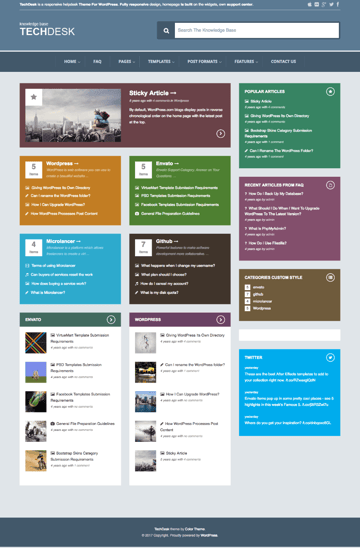 TechDesk Colorful Support Wiki-Style WordPress Theme
