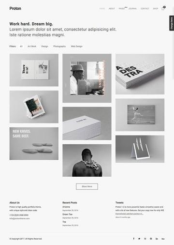 Proton minimal WordPress theme with simple clean design