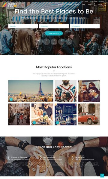 Search and Go Modern WordPress directory theme