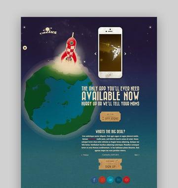 Caelus app landing page WordPress theme