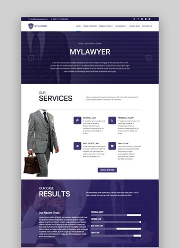 MyLawyer attorney WordPress theme