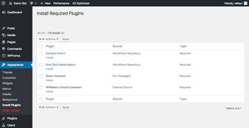 Required WordPress plugins