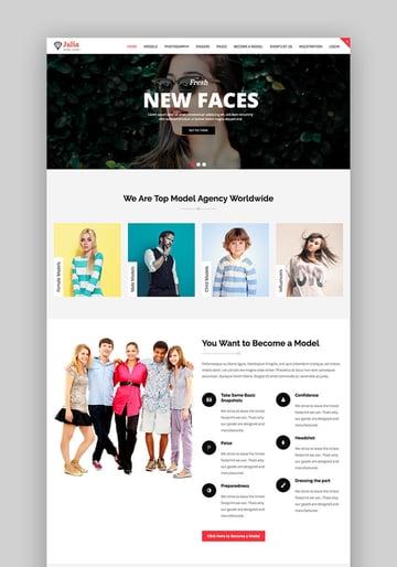 Julia talent management theme for WordPress fashion sites