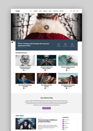 Vlog YouTube WordPress Theme