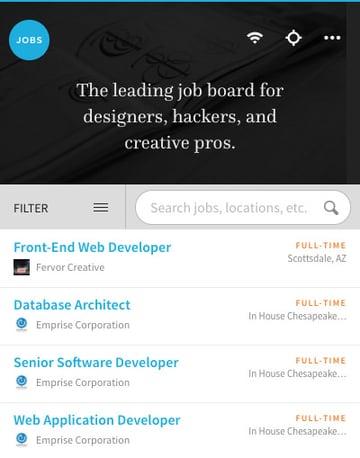 Authentic Jobs mobile