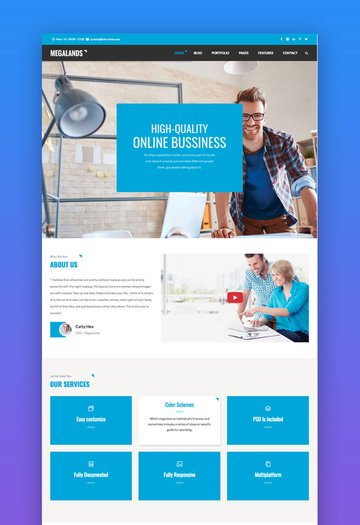 MegaLands - Landing Page Multipropsito Drupal 8 Bootstrap Theme