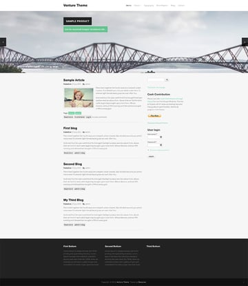 Venture flat free Drupal theme