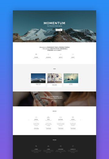 Momentum one-page blog template