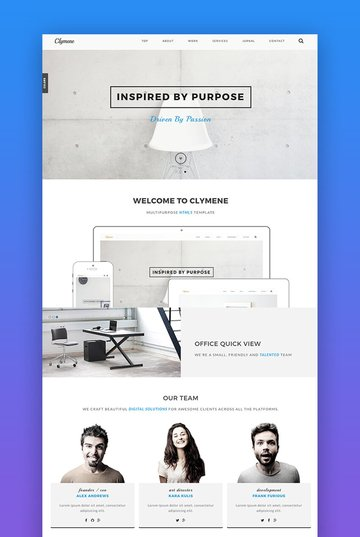 Clymene landing page for bloggers and portfolio