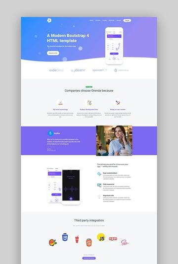 Orenda elegant app landing page design