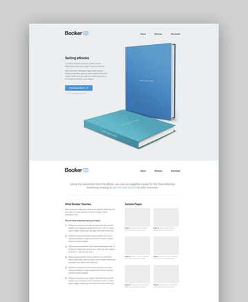 Booker ebook and book landing page template