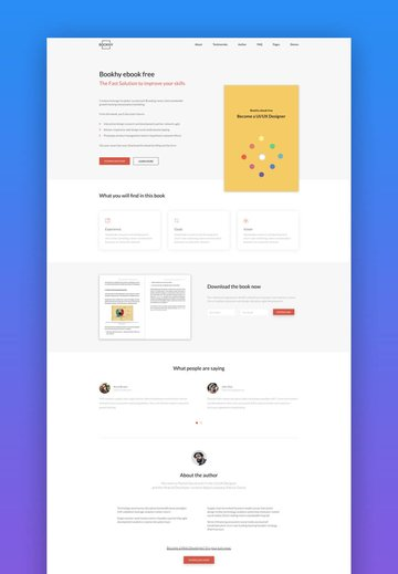 Bookhy ebook and book landing page design