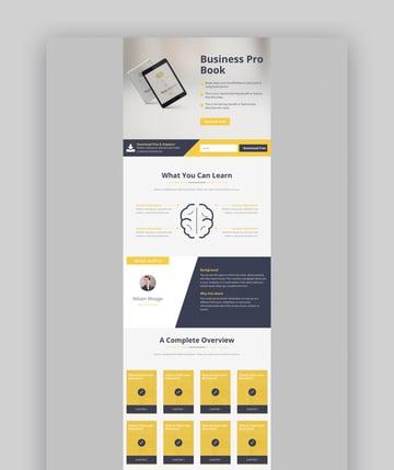 E-Marketing landing page design for ebook downloads