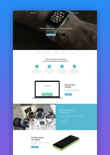 Minutes product landing page template