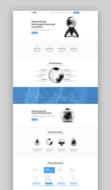 Sintex product landing page template