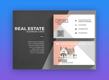 Real Estate Business Card Example from Envato Elements