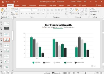 Adding graphs and charts to PowerPoint templates