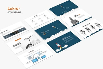Lekro PowerPoint template has beautiful solid-color and white background slides