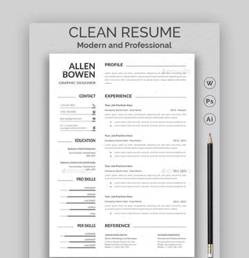 Clean Resume - Simple Resume Template