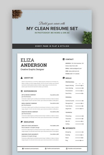 My Clean Resume - Attractive and Beautiful Resume Template