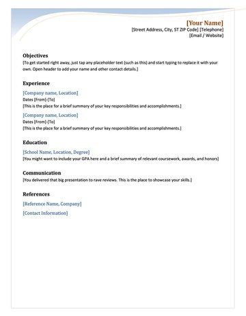 Chronological Free MS Word Resume Template