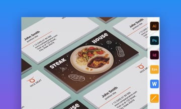 Steak House - Corporate MS Word Business Card Template for a Restaurant