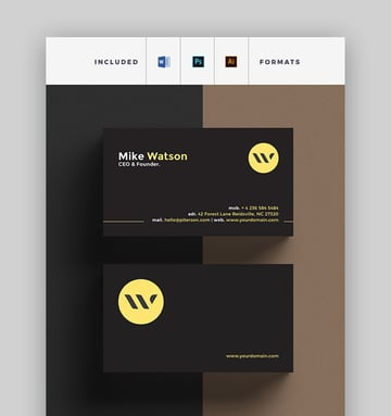 Elegant Business Card - Black and Gold MS Word Business Card Template