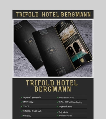 Hotel Bergman - Trifold Photoshop Brochure Template